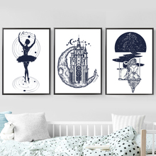 Abstract Universe Girl Nordic Posters And Prints Wall Art Canvas Painting Pictures For Living Room Scandinavian Home Decor