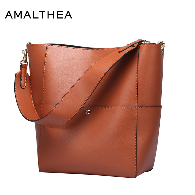 цена на AMALTHEA Brand Shoulder Bags For Women 2017 Split Leather Bags Women Casual Tote Bucket Bag Woman Handbag Composite Bag AMAS042