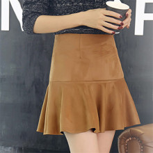Fashion High Waist Women Skirt Solid Color Suede Skirts Female New Winter All-Match Women's Short Fishtail Skirt C1225