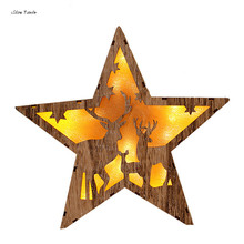 ISHOWTIENDA Creative Christmas Tree Decorations LED Light Wood House Cute Christmas Tree Ornaments Gifts For The New Year