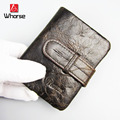 [WHORSE] Brand Logo Genuine Leather Man Wallet Male Top Quality Purse Men Wallets 100% Cowhide Famous Brand Short Coin Pocket