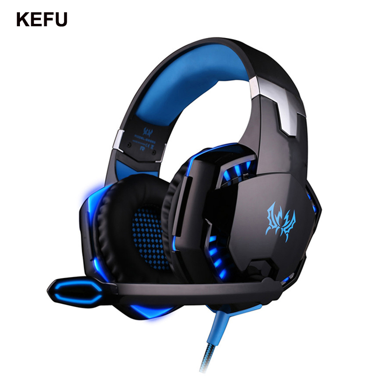 KEFU Computer Stereo Gaming Headphones G2000 Best casque Deep Bass Game Earphone Headset with Mic LED Light for PC Gamer original stereo bass over ear gaming headset headband earphone hifi stereo gaming headphones with mic for computer pc game