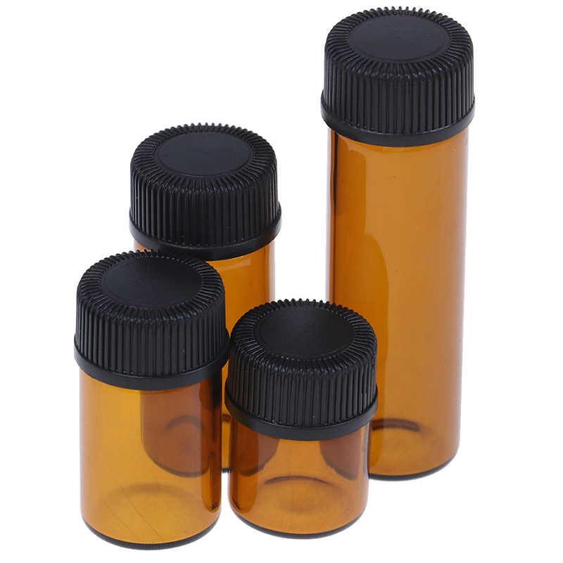 1 PC 1/2/3/5 ml Amber MINI ขวดรีฟิลขวดแก้ว Reagents น้ำมันหอมระเหยขวดตัวอย่างสีน้ำตาลขวดแก้วกับหมวกร้อนขาย