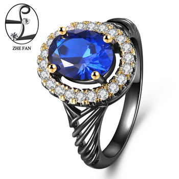 ZHE FAN Vintage Rings Deep Blue AAA Cubic Zirconia Crystal Black Gold Two Tone Plating Luxury Oval Women Wedding Ring Size 6-9