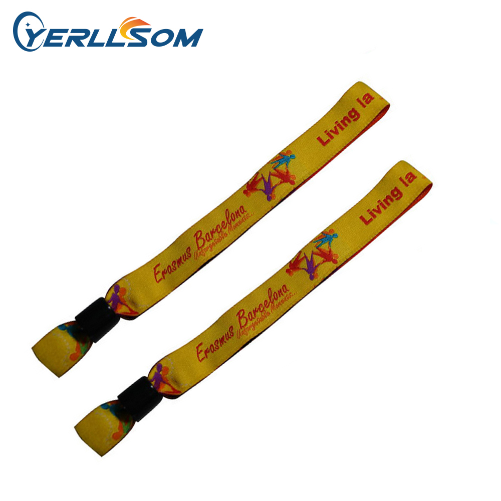 YERLLSOM 1000PCS Lot High Quality Customized Cloth Fabric Wristbands With Woven Logo For Events F050201