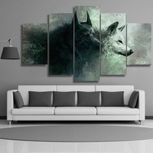 hot deal buy canvas wall art hd prints posters abstract red eyes two wolf 5 pieces abstract red eyes two wolf paintings home decor pictures
