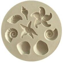 เค้กตกแต่งเครื่องมือ DIY สัตว์ทะเล Conch ปลาดาว SHELL Fondant เค้กซิลิโคนแม่พิมพ์ DIY ช็อกโกแลต Mould