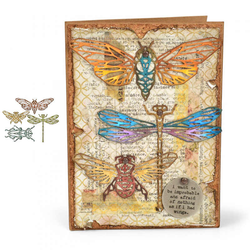Insect Dragonfly Bee Moth Metal Cutting Dies Stencils for DIY Scrapbooking Album Stamp Paper Card Embossing New 2019 Die Cut