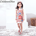 ChildrenDlor Baby Brocade Floral Print Toddler Girl Dress Carretto 2017 A-Line Princess Dresses Kids Clothes Robe Fille Enfant