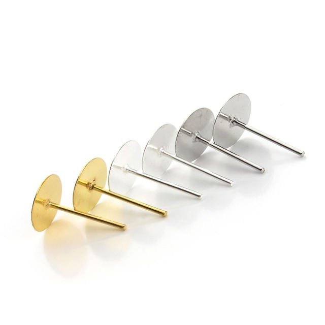 8mm 200pcs Lot Gold Silver Color Earring Stud Ear Post Nails Flat Pad