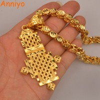 Anniyo Ethiopian Cross Pendant Thick Necklace For Women Men Gold Color Jewelry African National Traditional Style