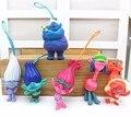 6 шт./лот 6 см красочные DREAMWORKS Фильм Тролли мешок кулон ПВХ Фигурки Куклы Игрушки для детей рождественский подарок
