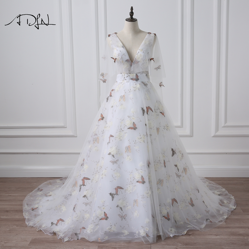 ADLN Deep V-neck Photography Wedding Dresses With Butterfly Print Flare Sleeve Court Train A-line Bridal Gown