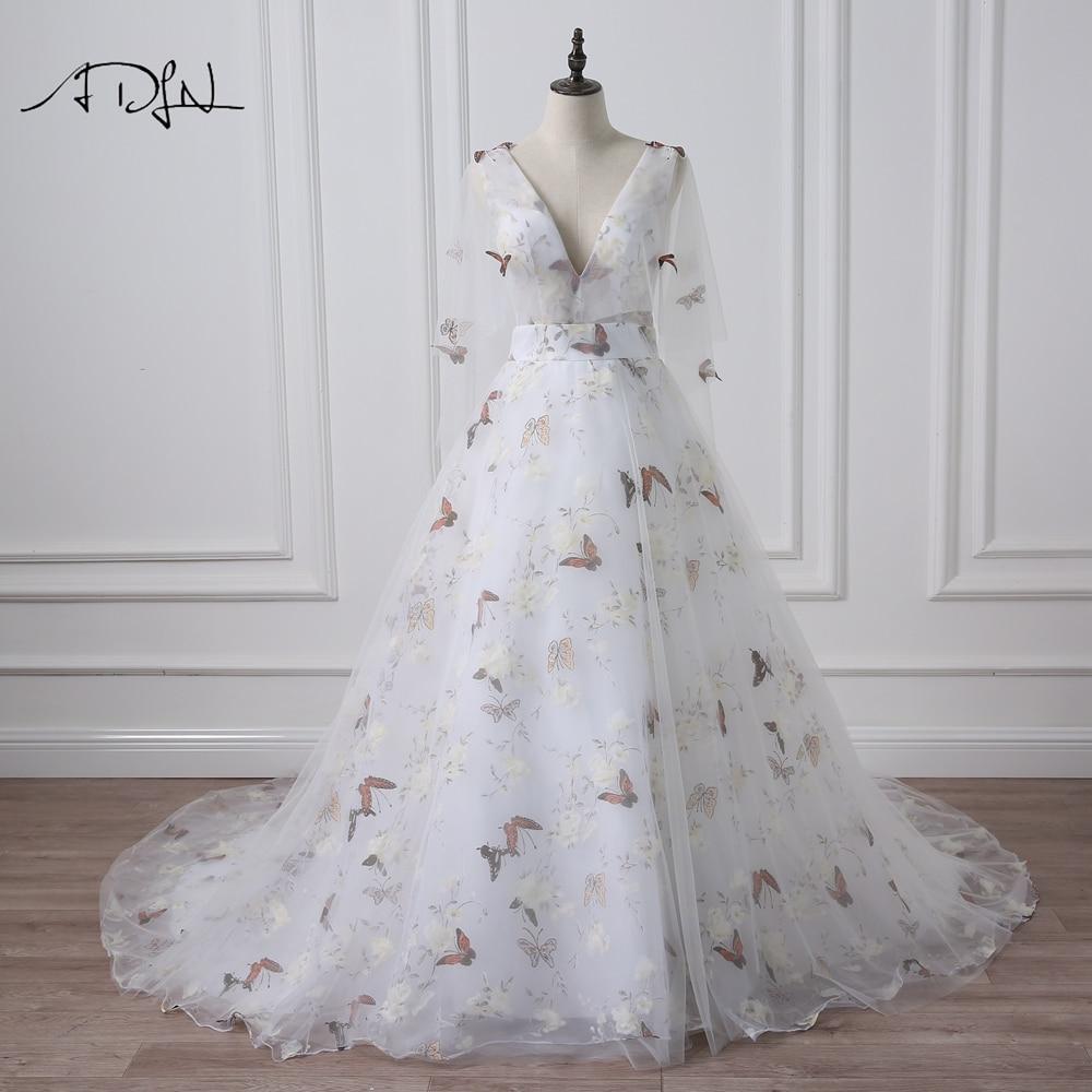 ADLN Deep V Neck Photography Wedding Dresses With