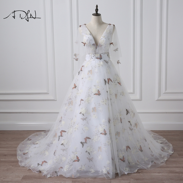 ADLN Deep V-neck Photography Wedding Dresses with Butterfly Print Flare  Sleeve Court Train A-line Bridal Gown c614ca43dfad
