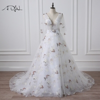 ADLN Deep V Neck Photography Wedding Dresses With Butterfly Print Flare Sleeve Court Train A Line