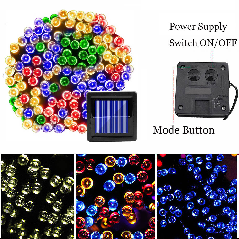 100 LED Solar Fairy Lights Outdoor Lighting Waterproof Patio String Lights Solar Garland Garden Light Christmas Party Home Decor