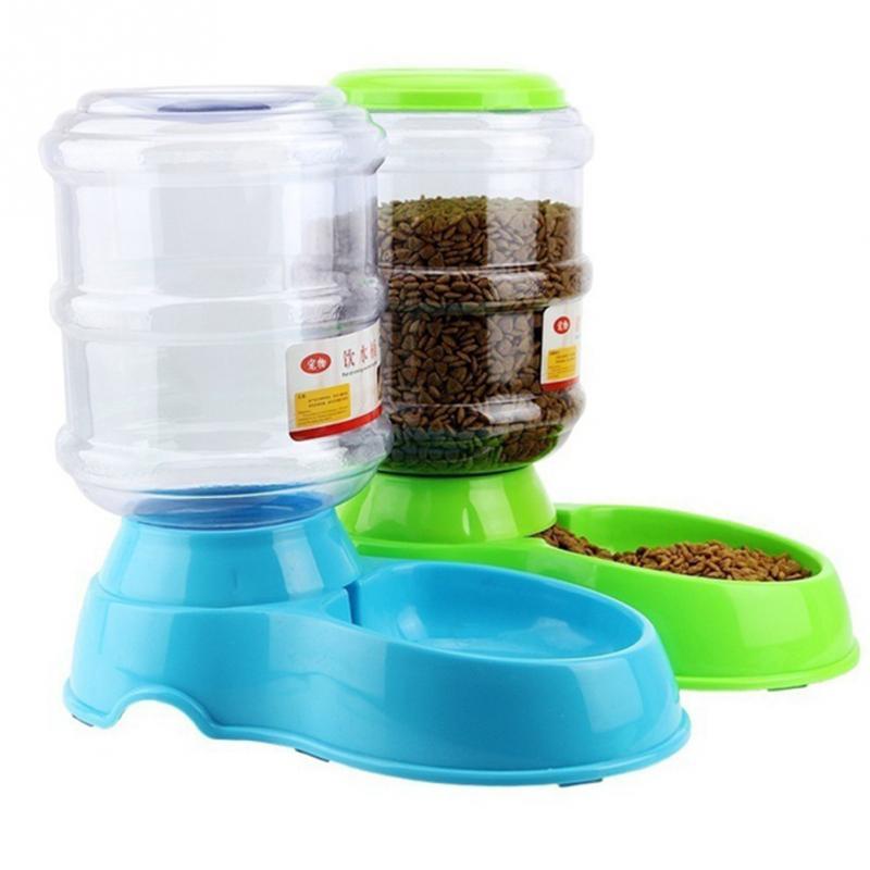 Mascotas Alimentador automático 3.5l agua plato de comida dispensador control de porciones PET Puppy Kitten Alimentación Herramientas