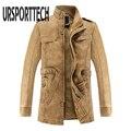 Высококачественная брендовая мужская куртка-парка из искусственной кожи  Мужская тонкая теплая мотоциклетная байкерская куртка  зимнее па...