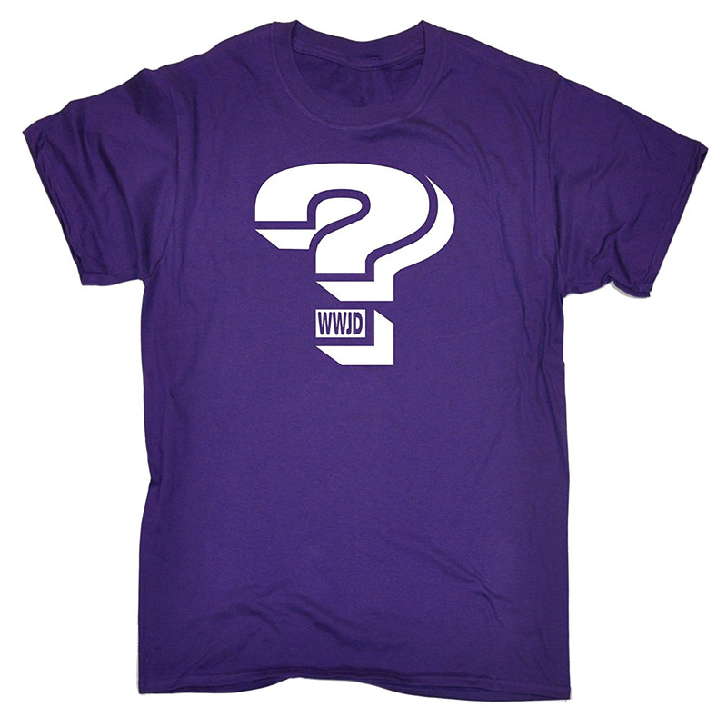 Funny Shirt Designs O-Neck Short Question Mark ... W . W . J . D Cotton Mens Shirts