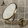 "8"" Double Side Bathroom Folding Brass Shave Makeup Mirror Antique bronze Wall Mounted Extend with Dual Arm 1x3x Magnifying 1308F"