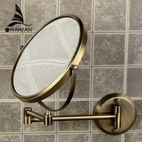 Bath Mirrors 8 Inch Round 2 Face 3 x Magnifying Mirrors of Bathroom Folding Makeup Mirror Brass Bronze Wall Mirror 1308Q