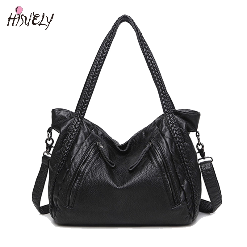 HISULEY  Hot Sale Soft PU Leather Woven Shoulder Bags Tote Fashion Women Messenger Bag Larger Waterproof Designer Female Purses  hot sale leather bags for women tote pu 2015 134 women messenger bags 134