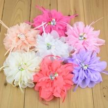 20 sztuk/partia 20 kolor U Pick 4.4 Cal duża szyfonowa tkanina kwiat z perłą Rhinestone Centered dziewczyny włosów akcesoria TH213