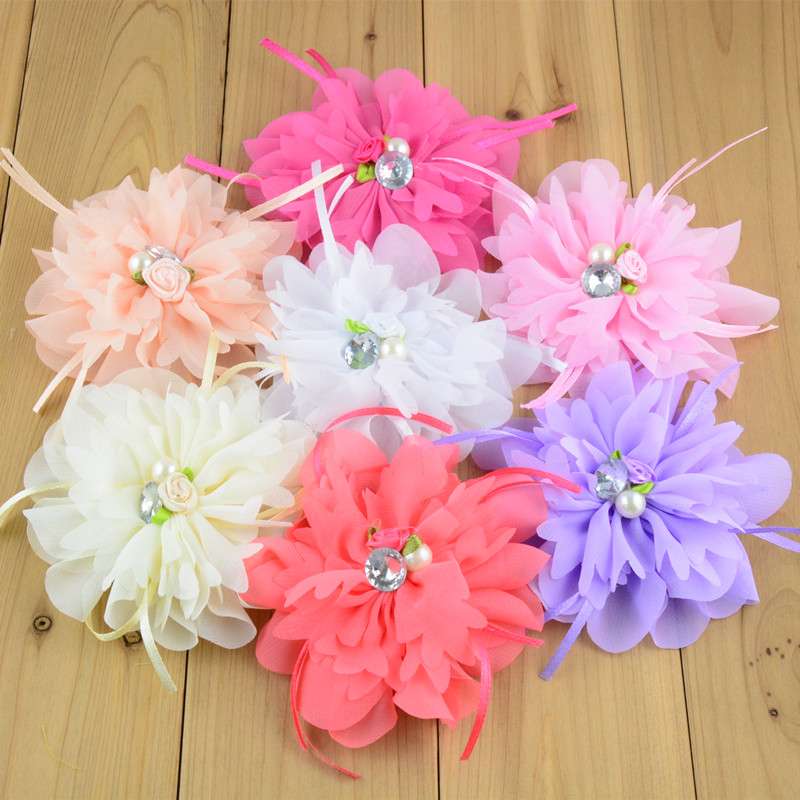 20pcs/lot 20 Color U Pick 4.4 Inch Large Chiffon Fabric Flower With Pearl Rhinestone Centered girls Hair Accessories TH213 u pick u 100