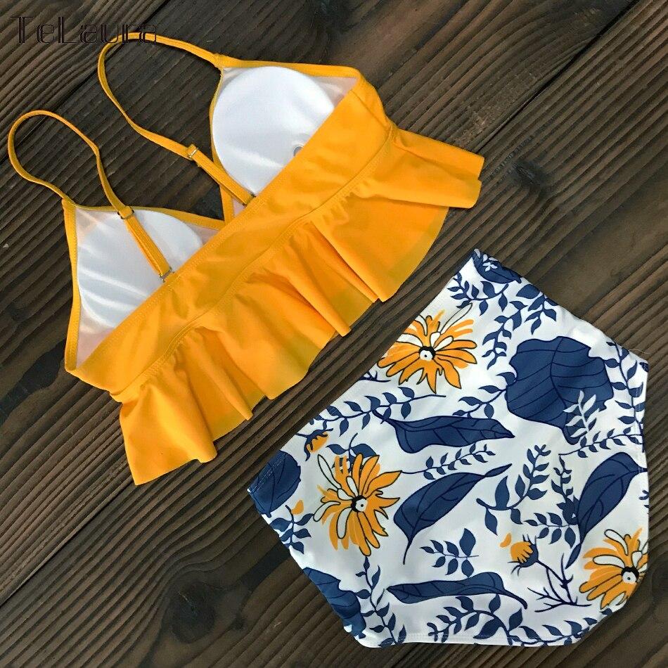 HTB1QYkOVwHqK1RjSZJnq6zNLpXaT 2019 New Sexy High Waist Bikini Swimwear Women Swimsuit Push Up Ruffle Bathing Suit Biquini Plus Size Swimwear Female Beach Wear
