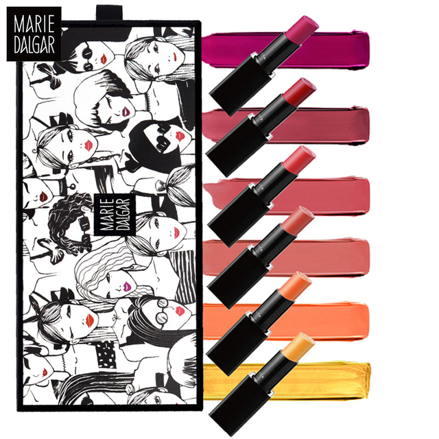 US $21 99 |6PCS/Set Variety Misty Lip Balm Gift Set Mini6 Lipstick Genuine  Makeup Lasting Lipstick By Brand MARIE DALGAR-in Lipstick from Beauty &