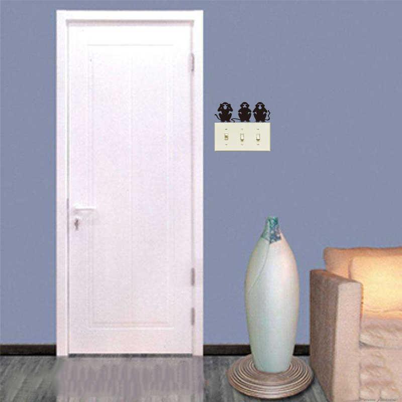 2 шт \ Лот три забавные обезьяны виниловые наклейки на стену для переключателя съемное настенное украшение черные художественные обои для украшения дома DD0699