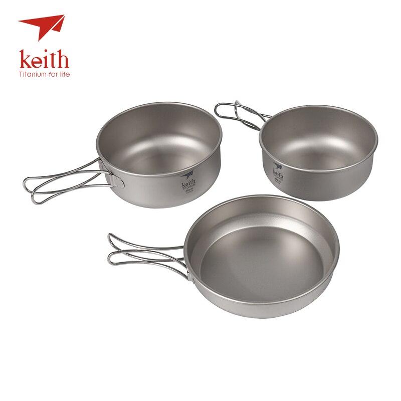 Keith 3Pcs Titanium Pans Bowls Set With Folding Handle Cook Sets Titanium Pot Set Camping Hiking