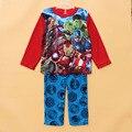 Invierno de los niños ropa de dormir pijamas set boys 2 unids mircrofleece Kids cama ropa de Bebé Avenger caliente pjs pijama de poliéster