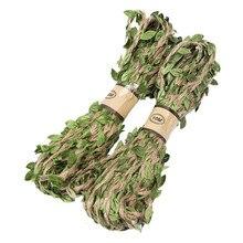 Пеньковая веревка с поддельными зелеными листьями длина 10 метров Охотничья винтовка обёрточная Бумага Шпагат Камуфляж Дерево Стенд слепой чехол