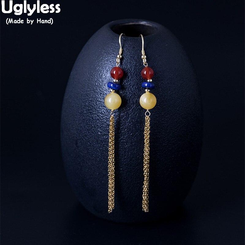 Uglyless 100% réel 925 argent Sterling longues chaînes gland boucles d'oreilles femmes ethniques perles balancent boucles d'oreilles ambre bijoux fins Agate