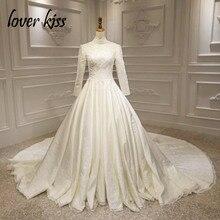 Amante beijo vestido de noiva 2020 modesto marfim cetim alta pescoço vestidos de casamento manga longa vestido de casamento peru pérolas rendas personalizado