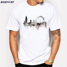 2018 New 2018 Summer Men Punk T Shirt Beautiful London Building Sign Ink  Style Printed Casual