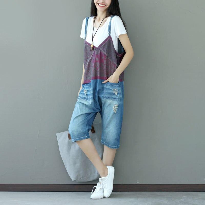 Hot Calf length Pants Denim Overalls Jeans Rompers Womens ...