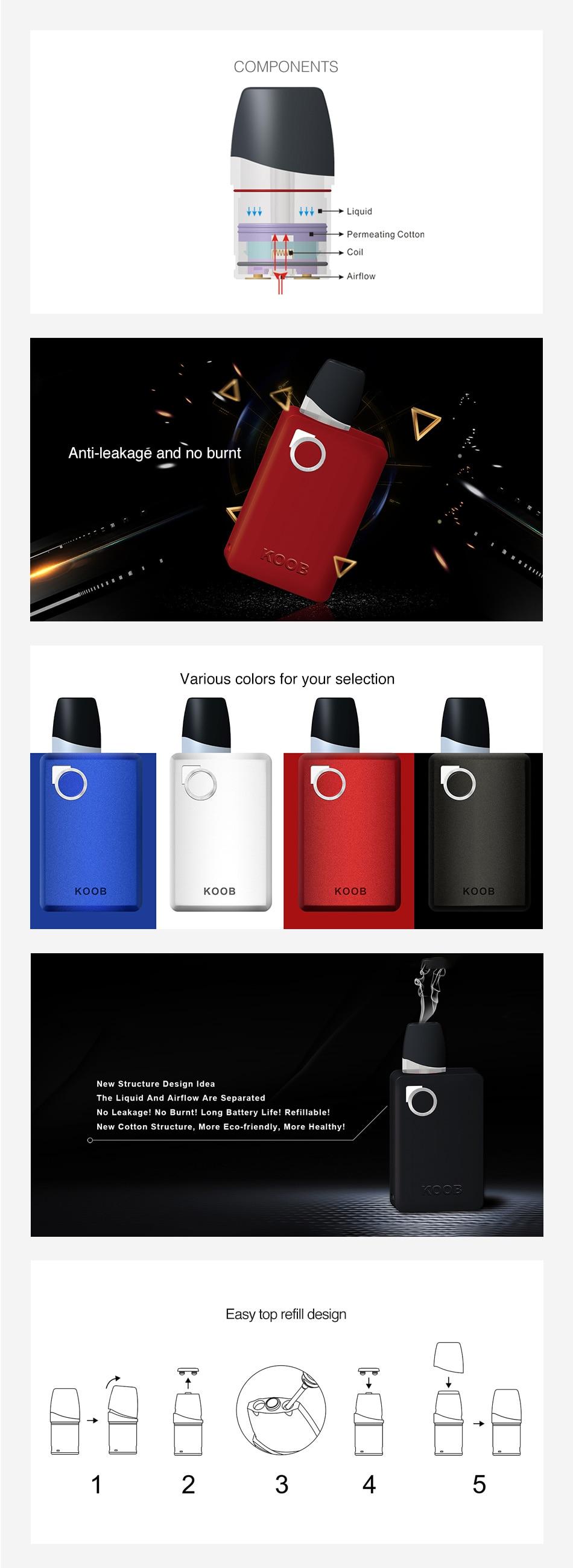 , Original OVANTY KOOB Pod Vape Kit with 1000mAh Built-in Battery & 1.5ml Pod Vape Kit Pod System vs Minifit/ Pal 2