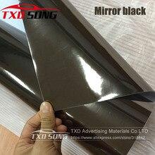 50 センチメートル * 1 メートル/2 メートル/3 メートル/4 メートル/5 メートルロール車スタイリング高伸縮性ミラー黒クロームミラービニールラップシートロールフィルム黒ミラーフィルム