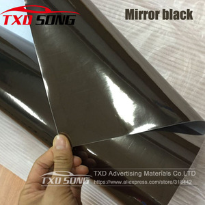 Image 1 - 50CM*1M/2M/3M/4M/5M Roll Car styling High stretchable Mirror black Chrome Mirror Vinyl Wrap Sheet Roll Film black mirror film