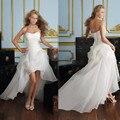 Vestido Де Noiva 2017 Новый Блестящий Органзы Женщины Невесты Милая Бисером Передняя Короткие Вернуться Длинные Белый Кот Свадебные Платья OC3399