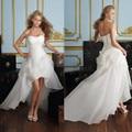 Vestido De Noiva 2017 New Shiny Organza Women Bride Sweetheart Beading Front Short Back Long White Ivory Wedding Dresses OC3399