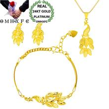 OMHXFC Wholesale European Fashion Woman Girl Birthday Wedding Gift Peacock 24KT Gold Necklace+Bracelet+Earrings Jewelry Set SS26(China)