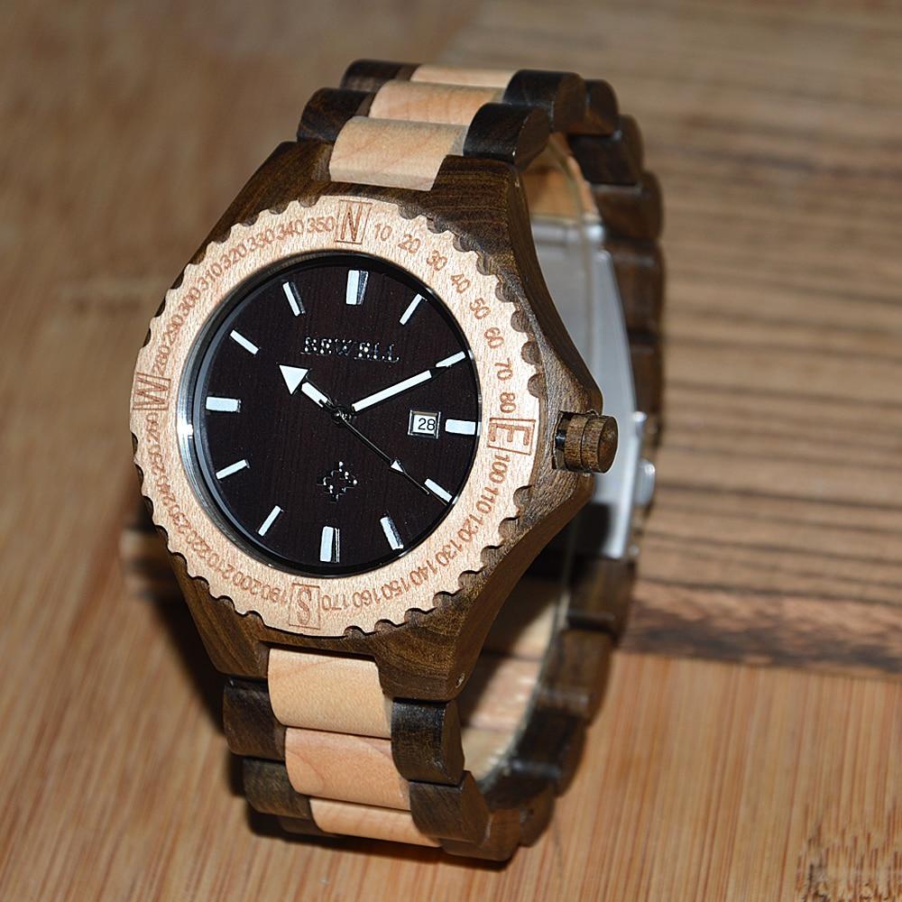 BEWELL heren horloges houten kist met houten band met kalender - Herenhorloges - Foto 3