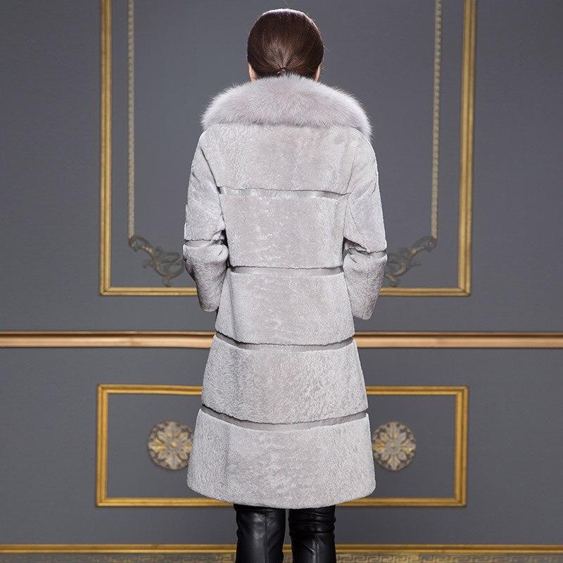 Hiver Col Femmes Wyq902 Vestes Avec Moutons Tonte Ayunsue Grand Fourrure Manteau Peau Réel De Naturel Renard Mouton Des Pour red Black Manteaux En Patckwork w0Y1Zq