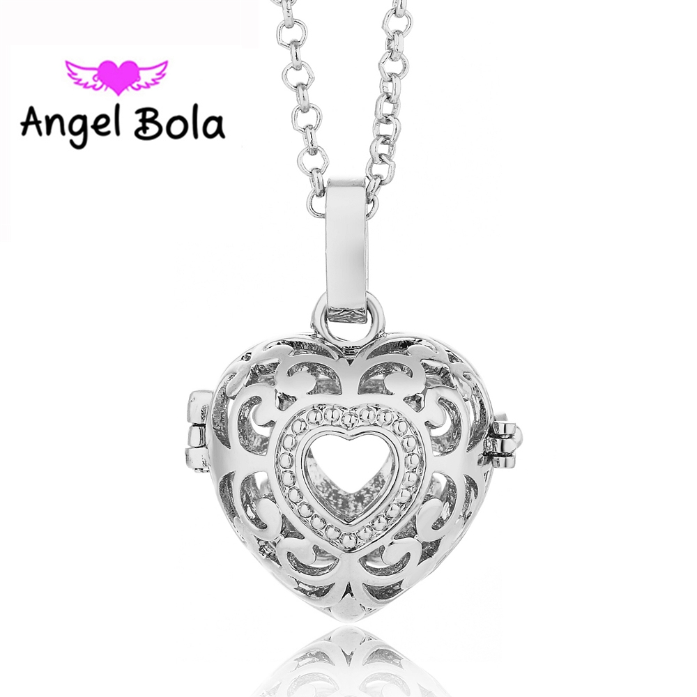 22.5MM Copper Angel Bola Harmony Chime Necklace Heart Design Cage Sounds Ball Pendants for Women DIY Jewelry L020