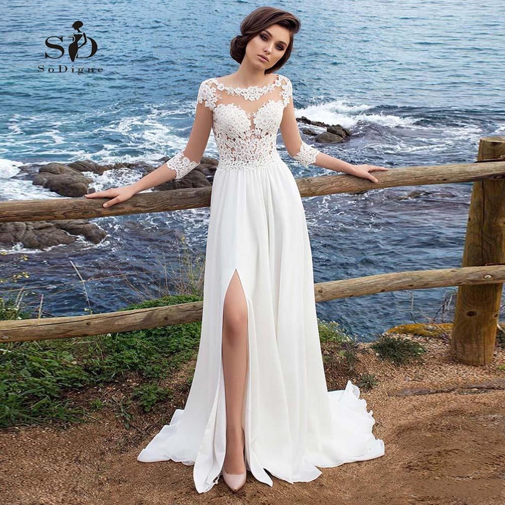 Wedding Dress Beach Chiffon Lace Appliques Simple Dress A line Slit Side Vestido De Novia Playa
