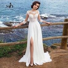 ชายหาดชีฟองชุดแต่งงานลูกไม้ Appliques ง่ายชุด A Line ด้านข้าง Vestido De Novia Playa ชุดเจ้าสาว vestidos de novia